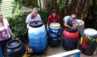 Volunteer Artists Paint Green Light Rain Barrels